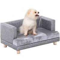 PawHut 32x68cm PU Leather Pet Sofa Seat Small Dog Cat w/ Velvet-Feel Seat Grey