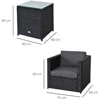 Outsunny 3 Pcs PE Rattan Set w/ Armchairs Square Table Cushions Garden Furniture