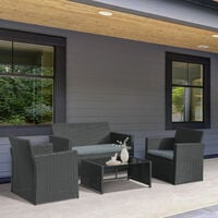 Outsunny 4 Pcs PE Rattan Garden Set w/ 2 Chairs Loveseat Table Padded Seats Black
