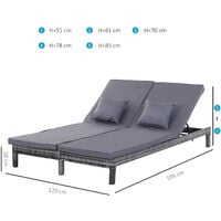 Outsunny Set Of 2 PE Rattan Sun Loungers w/ Metal Frame Padded Seat Mixed Grey