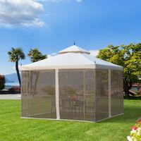 Outsunny 300cmX300cm Garden Gazebo Double Top Gazebo w/ Mesh Curtain Beige