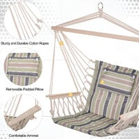 Outsunny 100x106cm Hanging Hammock Chair Rope Frame Pillow Multicoloured