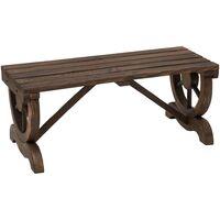 Outsunny 2-Person Rustic Wooden Wheel Bench Outdoor Patio Garden Seat Brown