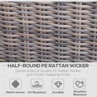 Outsunny 5 Pcs PE Rattan Armchair Footstool Set Tall Table Aluminium Frame Grey