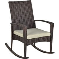 Outsunny Rattan Rocking Chair Rocker Garden Furniture Seater Patio Bistro Recliner Relaxer Outdoor Wicker Conservatory w/ Cushion