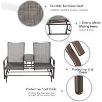 Outsunny Metal Double Swing Chair Glider Rocking Chair Seat Outdoor Seater Garden Furniture Patio Porch With Table