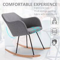HOMCOM Linen Look Rocking Chair w/ Solid Wood Curved Legs Padded Seat Deep Grey