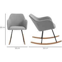 HOMCOM Linen Look Rocking Chair w/ Solid Wood Curved Legs Padded Seat Light Grey