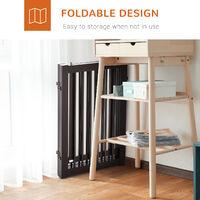 PawHut 155cm Expandable 3-Panel Freestanding Dog Pet Gate w/ Latched Door Brown