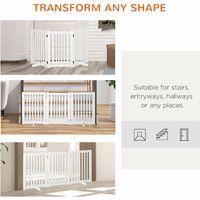 PawHut 155cm Expandable 3-Panel Freestanding Dog Pet Gate w/ Latched Door White