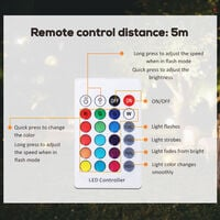 HOMCOM Round Waterproof LED Light Rechargeable 16 Modes Wireless w/ Remote 35cm
