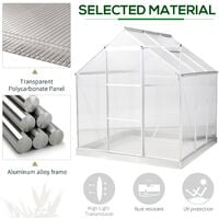 Outsunny 6x6ft Walk-In Greenhouse Polycarb. Panels Aluminium Frame Sliding Door
