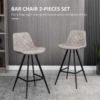 HOMCOM Set Of 2 Bar Stools Vintage PU Leather Tub Seats Padded Steel Frame Grey