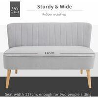 HOMCOM Double Seat Sofa w/ Wood Frame Foam Padding High Back Stylish Grey