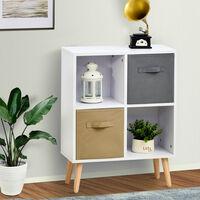 HOCOM 70x56cm Freestanding 4 Cube Storage Cabinet Unit w/ 2 Drawers