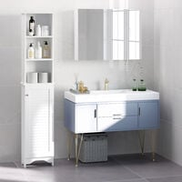 HOMCOM 165cm Freestanding Slimline Bathroom Storage Cabinet w/ 6 Shelves White