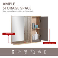 HOMCOM 49x57cm Wall Mounting Bathroom Cabinet & Mirror Shelf Door Home Storage
