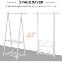 HOMCOM 40KG Freestanding Steel Clothes Hanger w/ 2 Shelves Open Wardrobe White