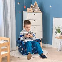 HOMCOM Space Themed Kids Mini Sofa Comfortable Padded Chair Wood Frame Blue