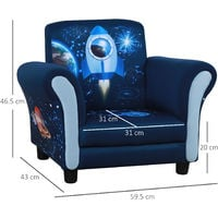 HOMCOM Kids Rocket Child Armchair Seat w/ Wood Frame 3-6 Years Blue