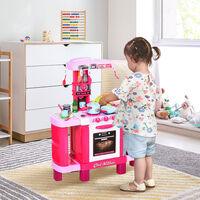 HOMCOM 38-Piece Children's Kitchen Play Set w/ Realistic Sounds Lights Food Pink