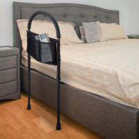 HOMCOM Bed Safety Rail Handle Height Adjustable Adults with Storage Home
