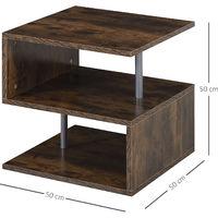 HOMCOM S-Shaped Coffee Table Home Living Room Furniture Side Storage Brown