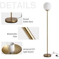 HOMCOM 171cm Glass Globe Floor Lamp Metal Frame Sphere Light Pedal Switch Gold