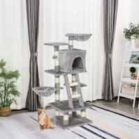 PawHut 120cm Multi-Activity Cat Tree w/ House Baskets Ladder Scratch Post Grey