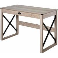 HOMCOM Retro Inspired Work Desk Station Home Office Drawer Large Tabletop Natural