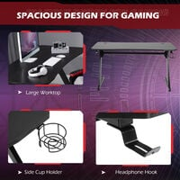 HOMCOM Gaming Desk Steel Frame Cup Headphone Holder Adjustable Feet Home Black