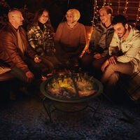 Outsunny Outdoor Metal Fire Pit Round Firepit Wood Burning Heater Mesh Lid Garden Stove Patio Brazier w/ Poker Dia.56cm