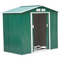 Outsunny Lockable Garden Shed Large Storage Sheds Box Outdoor Furniture Deep Green (6 x 4FT)