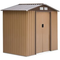 Outsunny Lockable Garden Shed Large Storage Sheds Box Outdoor Furniture Khaki (6 x 4FT)