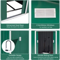 Outsunny Lockable Garden Shed Large Storage Sheds Box Outdoor Furniture Deep Green (9 x 6FT)