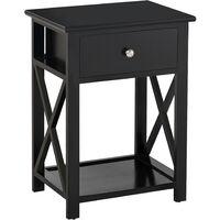 HOMCOM 55cm End Side Table w/ Drawer Shelf Stand Home Storage Furniture Black