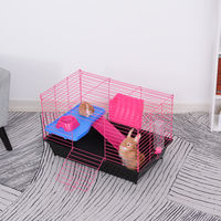 PawHut Small Animal Cage Rabbit Guinea Pig Hutch Pet Play House w/ Platform Ramp