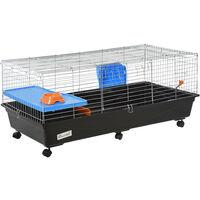 PawHut Small Animal Cage Rabbit Guinea Pig Hutch Pet Play House w/ Platform