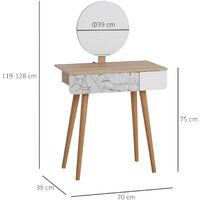 HOMCOM Elegant Compact Dressing Table w/ Pattern Drawer Mirror Tabletop White