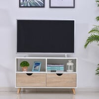 HOMCOM TV Unit Stand 2 Drawers Modern Entertainment Cabinet Furniture Natural