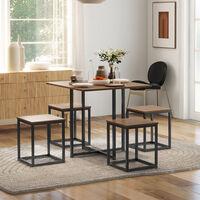 HOMCOM 5 Pcs Bar Table & Chair Dining Set Stylish Minimal Home Seating Furniture