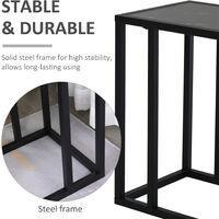 HOMCOM C-Shape Marble-Look Side Table w/ Metal Frame Home Furniture Black