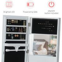 HOMCOM Freestanding Jewellery Storage Armoire w/ 2 Mirrors Drawers Hooks Lights
