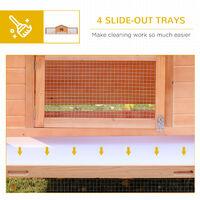 PawHut Wooden Rabbit Hutch Large Pet Habitat House Animal Cage w/ Ramp and Run Area