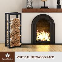 HOMCOM 100x40cm Metal Firewood Log Rack Holder Indoor Outdoor Organisation