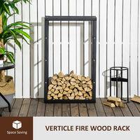 HOMCOM 100x60cm Metal Firewood Log Rack Holder Indoor Outdoor Organisation