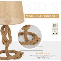 HOMCOM Nautical Style Rope-Base Table Lamp w/ Fabric Lampshade Metal Frame Beige