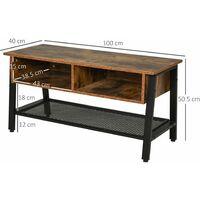 HOMCOM Industrial TV Stand Storage Table w/ 3 Shelves Stylish Sleek Storage Feet
