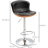 HOMCOM Set Of 2 PU Leather Swivel Bar Stools Tub Seat w/ Metal Frame Footrest Black