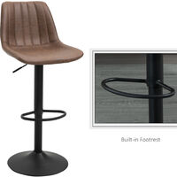 HOMCOM Set Of 2 Vintage PU Leather Barstools Cool Worn w/ Metal Frame Footrest Brown